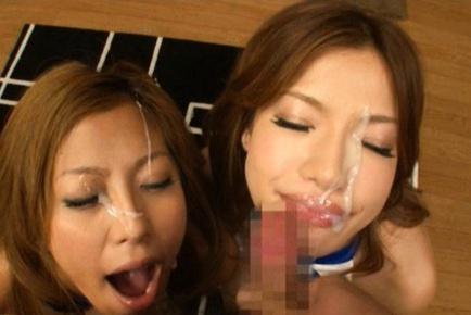 Jun Asami and Karela Ariki hot race girls suck a hard cock