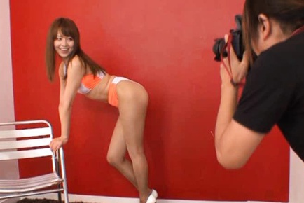 sexy Japanese race queen is giving blow job