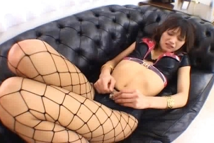 Nice Teen in Fishnet Stockings Shows off Her Racing Queen Attitude